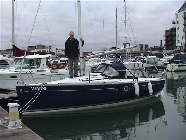 """Mike Beesley's brand new First 211, """"Memini"""". The pole on the foredeck"""